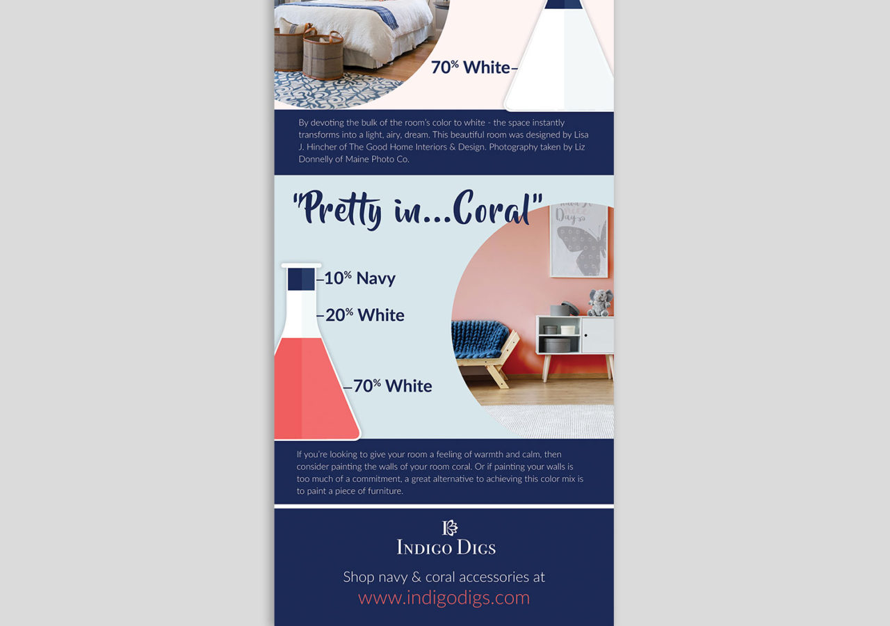 Navy and Coral Decor Trend throw Pillow infographic