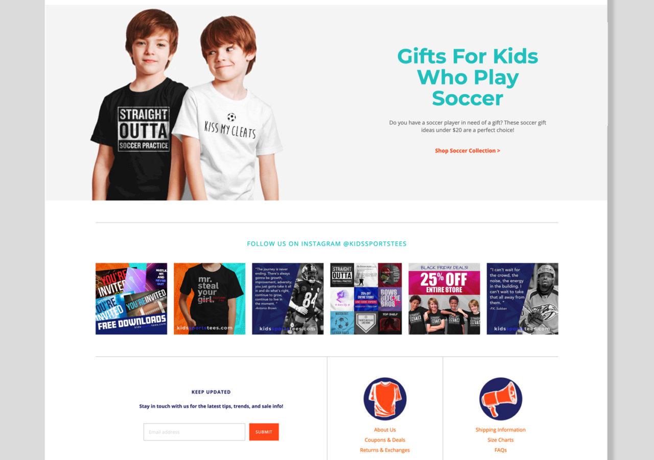 Ecommerce website design youth sports t-shirts custom sports posters